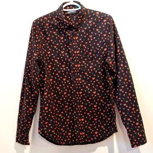 The Hundreds rose print button down shirt small